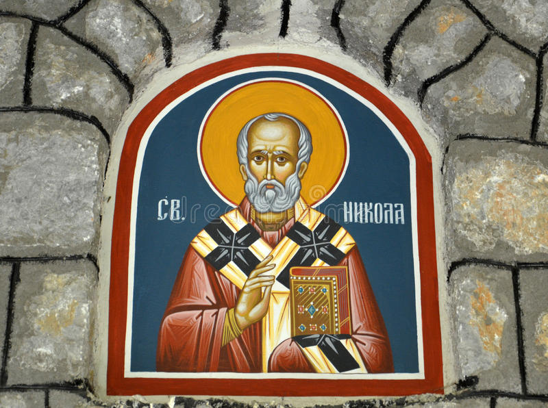 St . Nicolas fresco. Picture of a St . Nicolas,orthodox fresco stock photo
