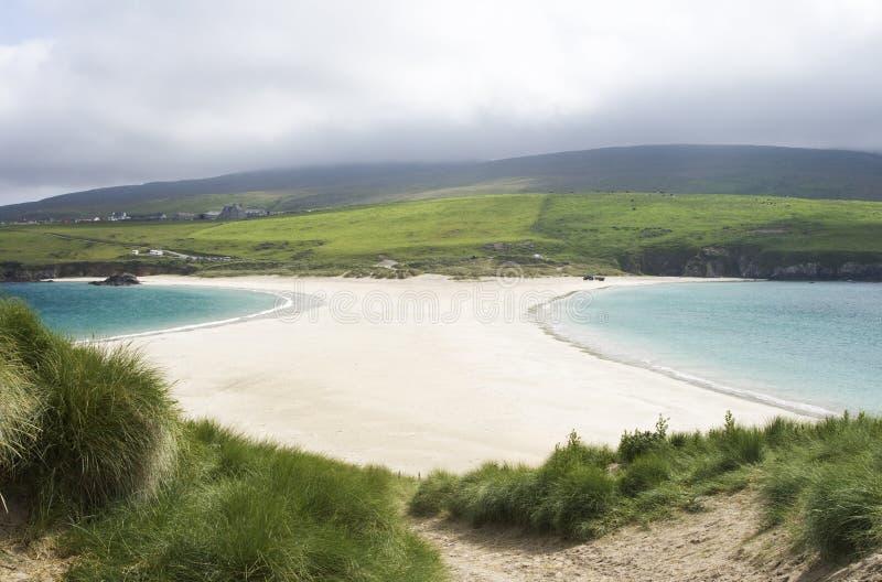 St Ninian's Isle, Shetlands. View of sand spit from St Ninian's Isle, Shetland Islands, Scotland royalty free stock photo