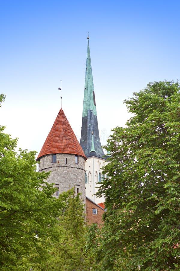 St Olaf (Oleviste) Church and medieval tower . Tallinn, Estonia royalty free stock image