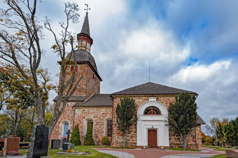St Olaf& x27; s Kerk, Jomala, Aland-Eilanden, Finland stock afbeelding