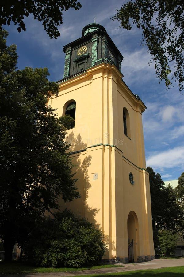 St Olai教会's响铃钟楼。诺尔雪平。瑞典 免版税库存照片