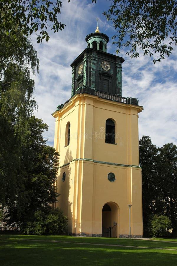St Olai教会's响铃钟楼。诺尔雪平。瑞典 库存照片