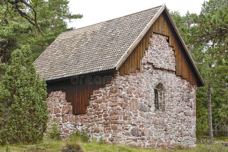 St Olof kapel in Aland-eilanden Lemboteplaats finland stock foto