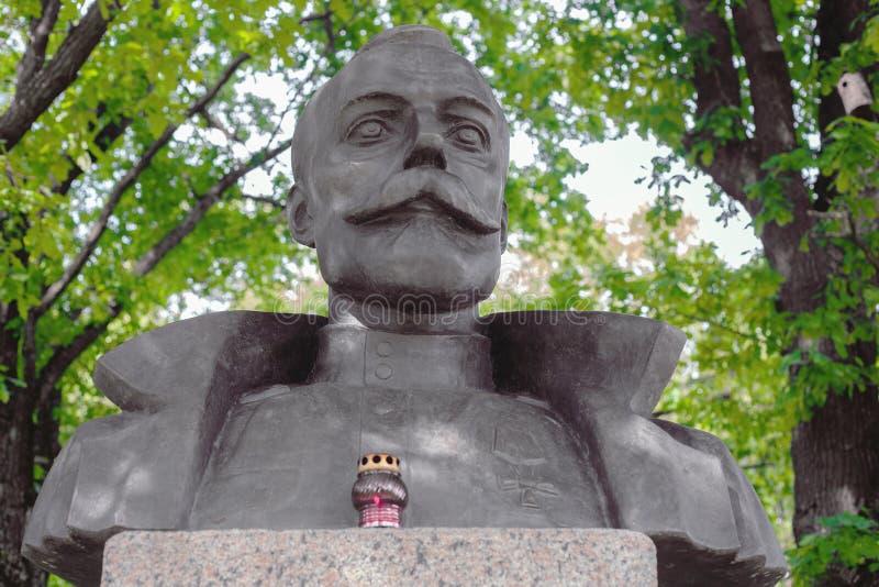 St PÉTERSBOURG, RUSSIE - le 19 août 2017 : Le buste du tsar russe Nicholas II est ouvert le 17 juillet 1993 photo libre de droits