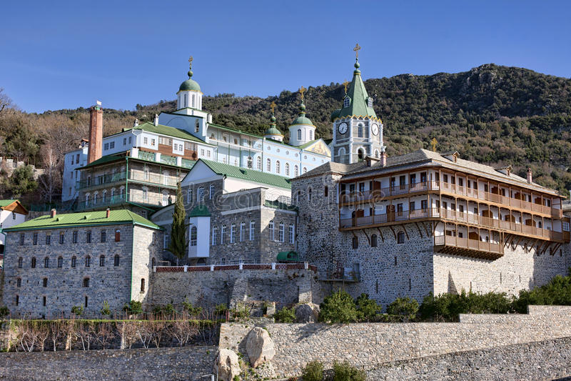 St Pantaleon monastery at Mt Athos. Russian St. Pantaleon Orthodox monastery at Mount Athos, Agion Oros (Holy Mountain), Chalkidiki, Greece stock photography