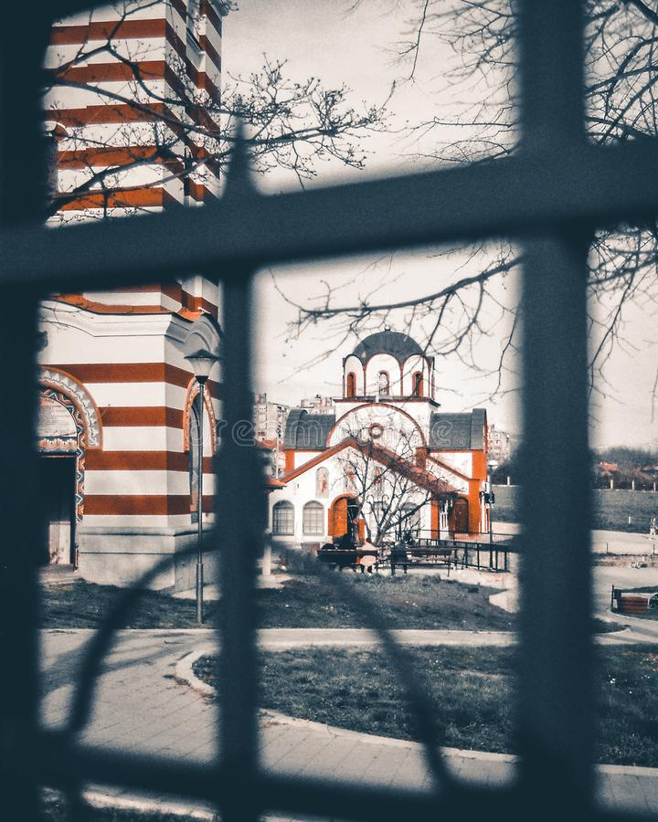 St Panteleimon Church. One of the most beautiful churches in the city of Nis, Serbia. It is dedicated to St. Panteleimon. Shot taken on 35mm film stock photos