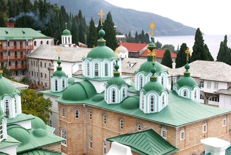 St. Panteleimon Monastery on Mount Athos. In Greece royalty free stock images