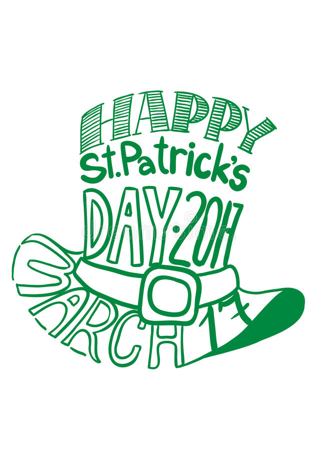 St.Patrcik`s day hat image composed of words tag cloud. St.Patrick`s day hat image composed of words tag cloud royalty free illustration