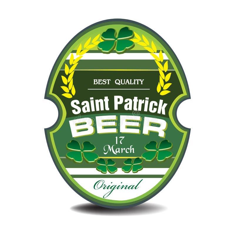 St Patrick öletikett royaltyfri illustrationer