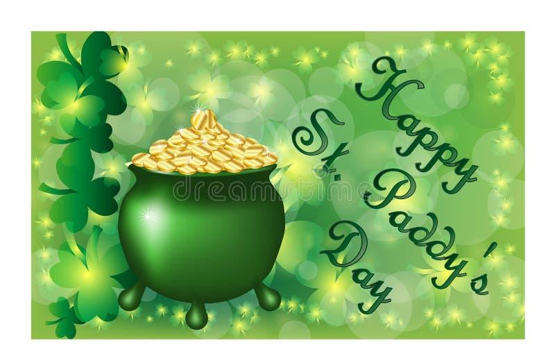 St Patrick \ 'cartão do dia de s com as folhas e texto verdes sparkled do trevo Inscrição - dia feliz do St Paddys ilustração do vetor