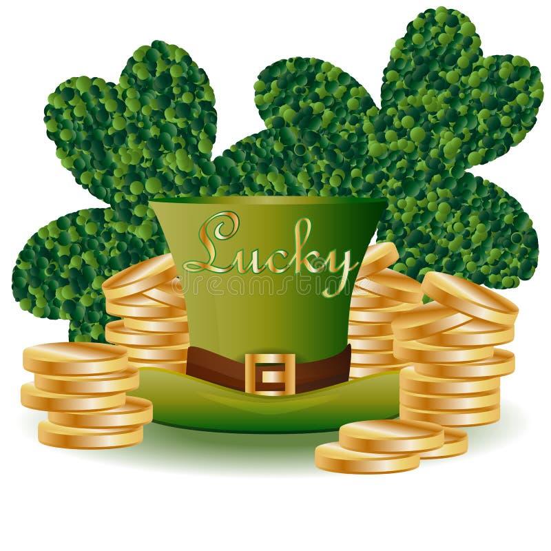 """St Patrick \ """"carta di s con il trifoglio verde della foglia due che consiste dei cerchi, di un cappello verde e dei mucchi delle illustrazione di stock"""