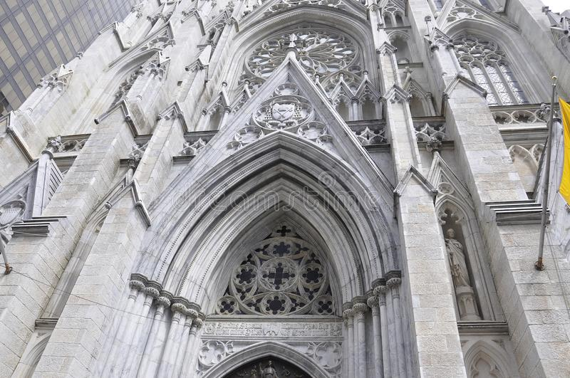 St Patrick Cathedral facade details from Midtown Manhattan in New York City in United States. St Patrick Cathedral facade details from Midtown Manhattan New York stock images