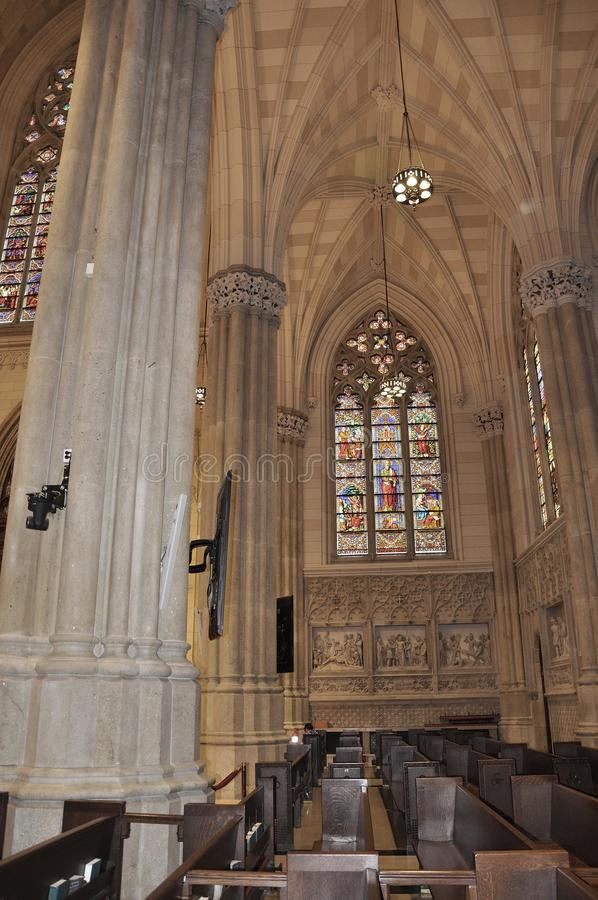 St Patrick Cathedral interior from Midtown Manhattan in New York City in United States. St Patrick Cathedral interior from Midtown Manhattan New York City in stock photo