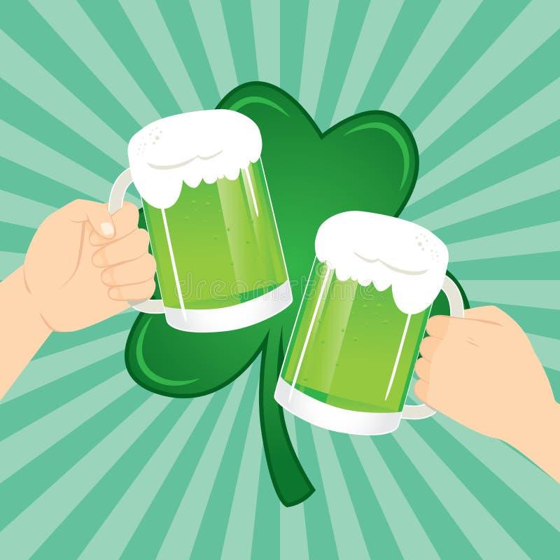 St Patrick Celebration Toasting Beer ilustración del vector