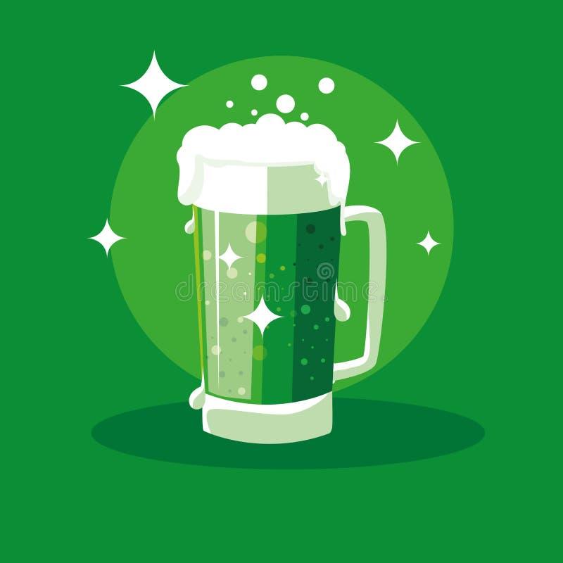 St Patrick dag med öl i krus royaltyfri illustrationer