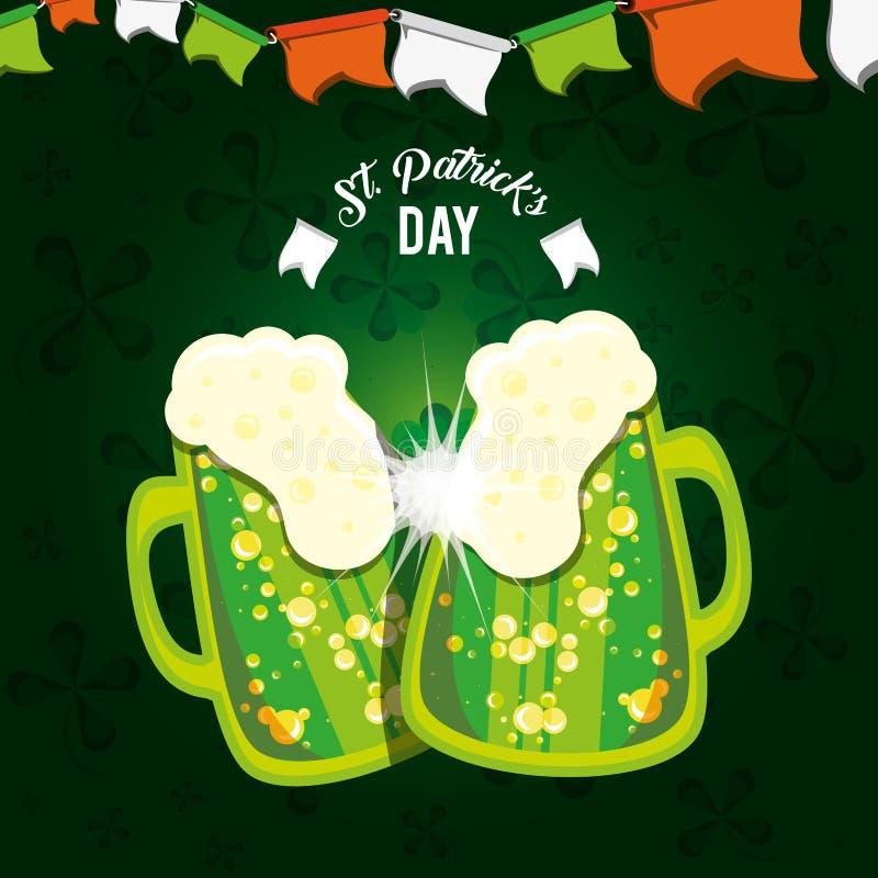 St Patrick dag med ölkrus royaltyfri illustrationer