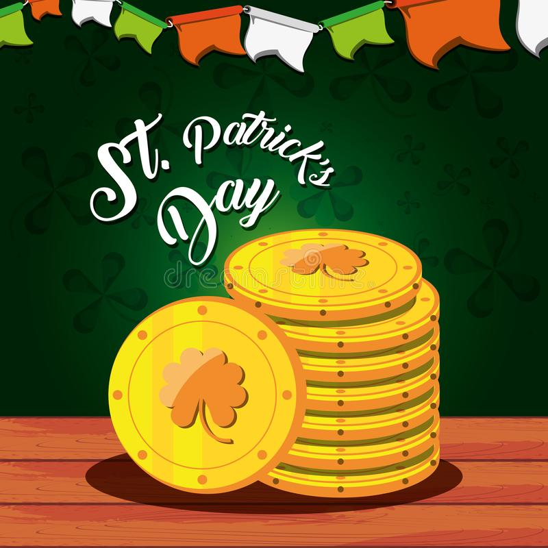 St Patrick dag med buntmynt stock illustrationer