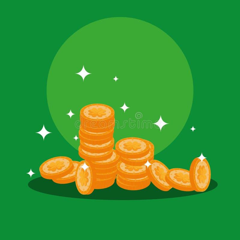 St Patrick dag med buntmynt vektor illustrationer