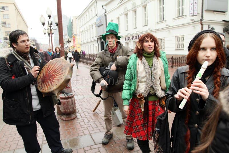 St. Patrick Dag in Moskou stock afbeelding