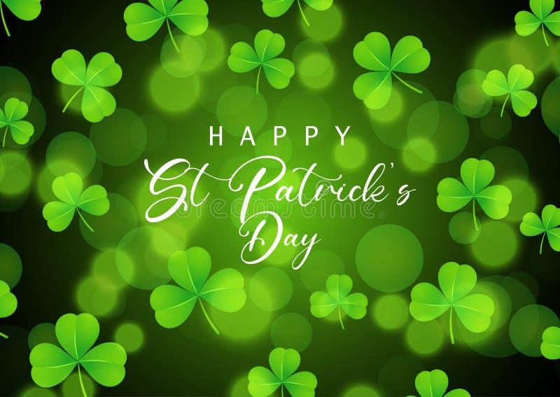 St Patrick Dagachtergrond met klaver op bokehlichten stock illustratie