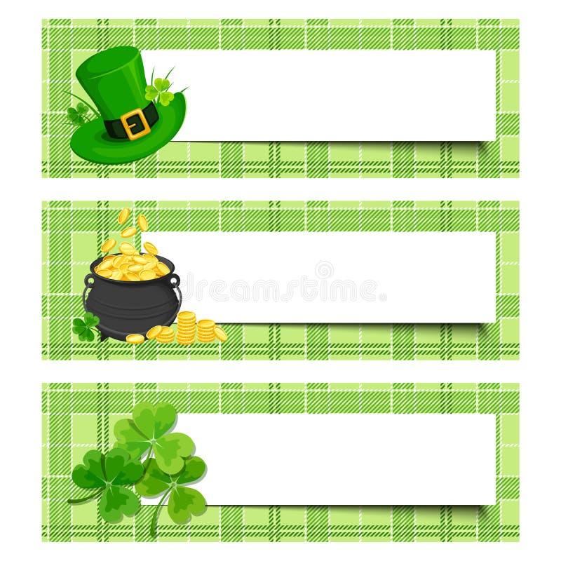 St Patrick dagbanners met klaver, pot van goud en kabouterhoed Vector eps-10 royalty-vrije illustratie