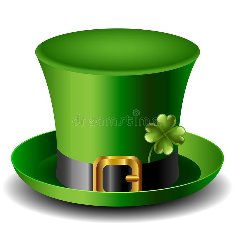 St Patrick daghoed met klaver royalty-vrije illustratie