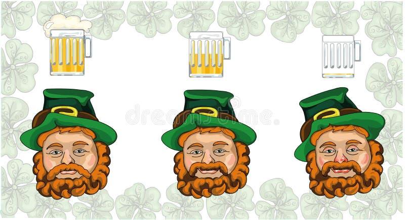 St Patrick Dagkabouter en bier royalty-vrije illustratie