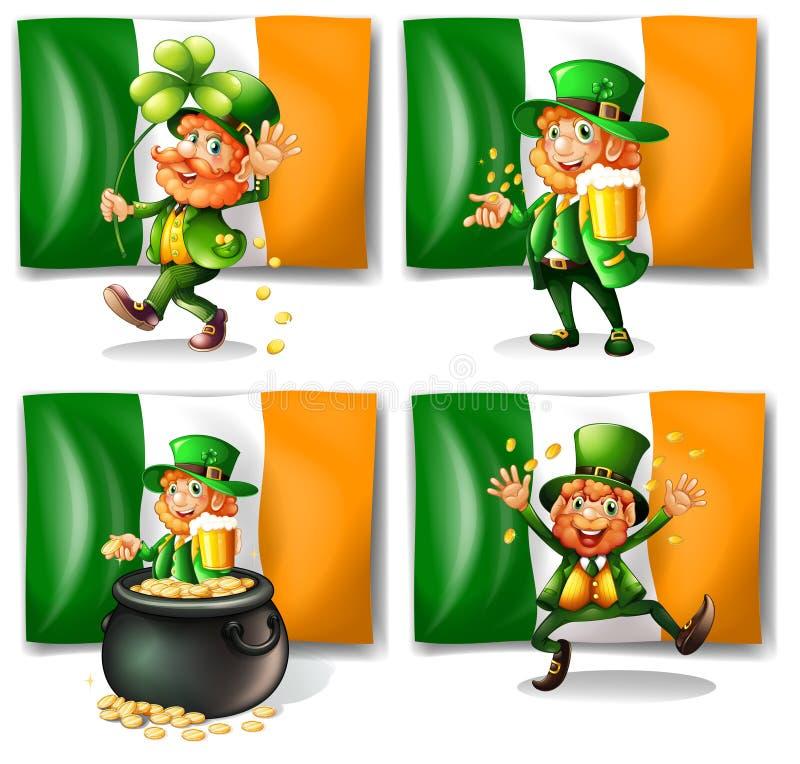 St Patrick dagtema med älvan och flaggan stock illustrationer
