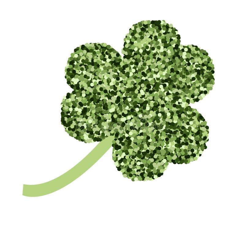 St Patrick dagvector Pictogramklaver met groene fonkelingen op witte achtergrond Het ontwerp van de partijaffiche vieringsmalplaa royalty-vrije illustratie