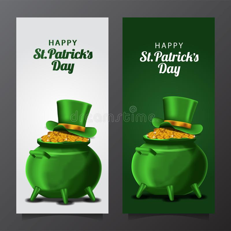 St patrick day banner template with illustration of golden coin in the pot with hat vector illustration