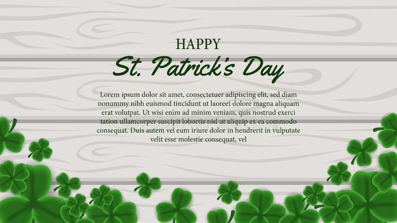 St patrick day banner template with illustration of shamrock clover leaves on the wood royalty free illustration