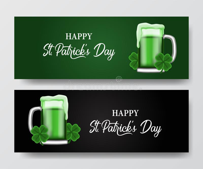 St patrick day banner template with illustration of shamrock clover leaves and glass beer. St patrick day banner template. clover shamrock leaves. 3D vector illustration