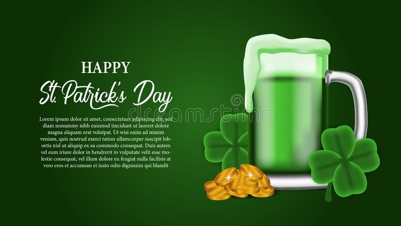 St patrick day banner template with illustration of golden coin in the glass beer. St patrick day banner template. clover shamrock leaves. 3D illustration vector illustration