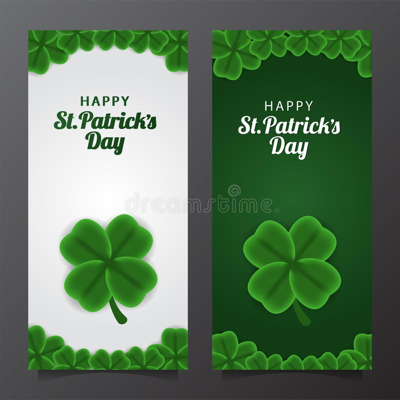St patrick day banner template with illustration four petal shamrock or clover leaves. St patrick day banner template. clover shamrock leaves. 3D illustration stock illustration