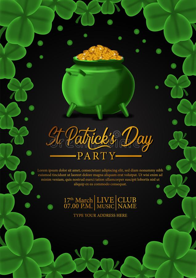 St patrick day banner template with illustration of shamrock clover leaves and golden coin in pot stock illustration