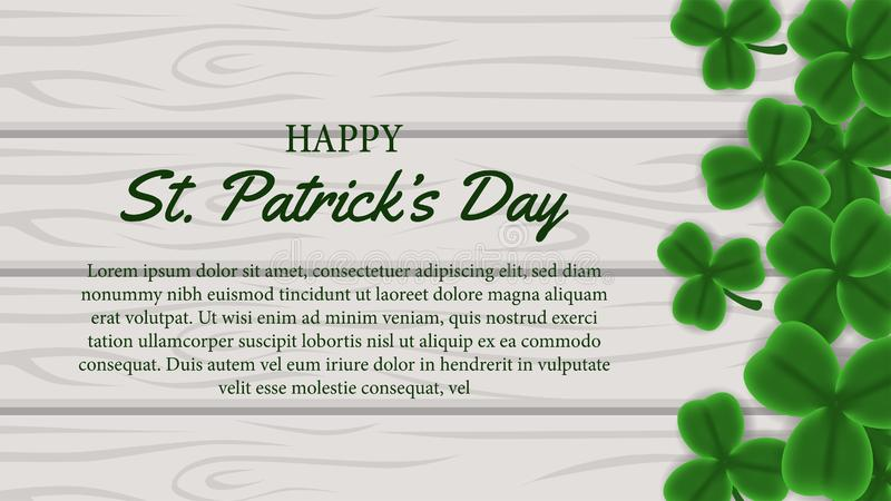 St patrick day banner template with illustration of shamrock clover leaves on the wood. St patrick day banner template. clover shamrock leaves. 3D illustration vector illustration