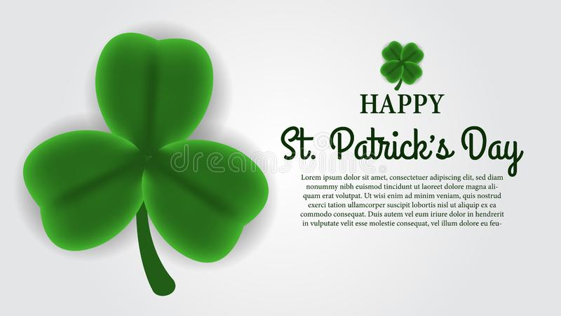 St patrick day banner template with illustration of three petals of shamrock or clover leaves. St patrick day banner template. clover shamrock leaves. 3D vector illustration