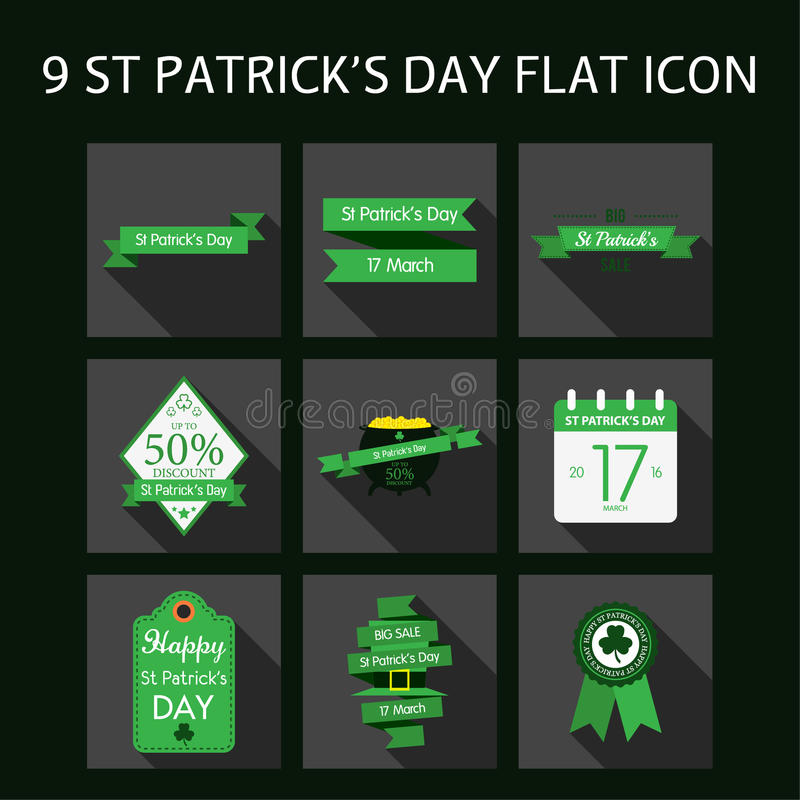 St patrick day 12 flat icon illustration. Celebrating of saint patrick day design illustration vector illustration