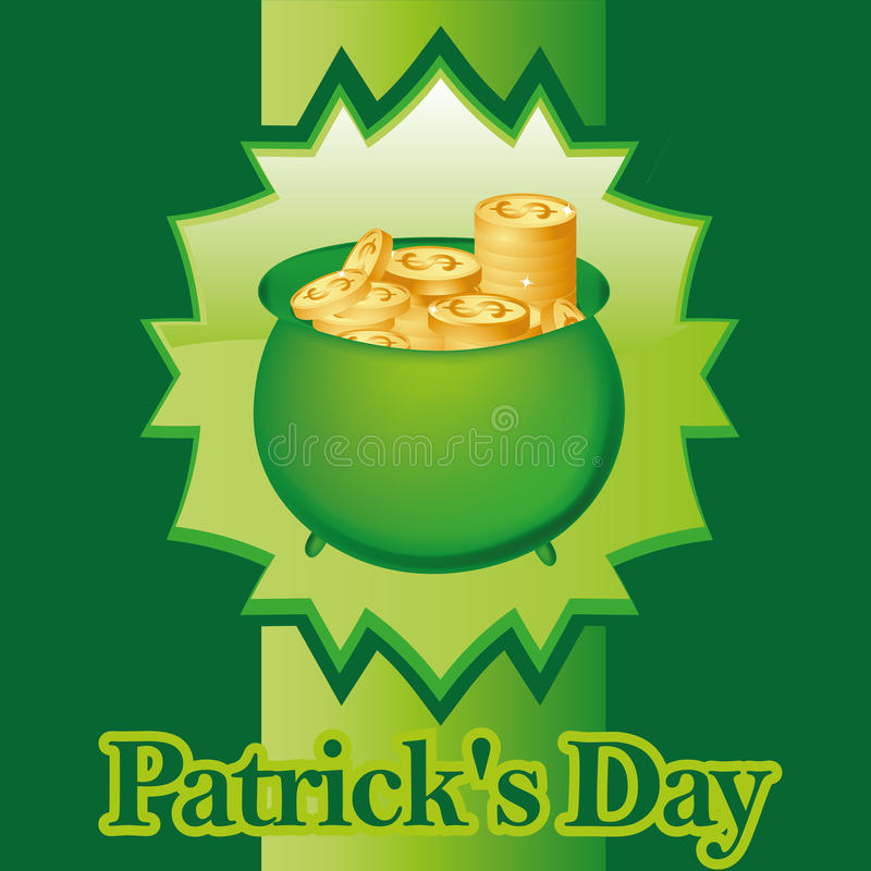 St patrick day. A lot of golden coins in a green icon for st patrick day royalty free illustration