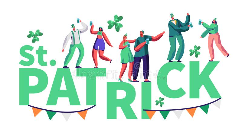 St Patrick Day People Character Festival Typography Poster. Happy Man and Woman in Green Costume Drink Beer have Fun. At Traditional Irish Festival. Carnival vector illustration