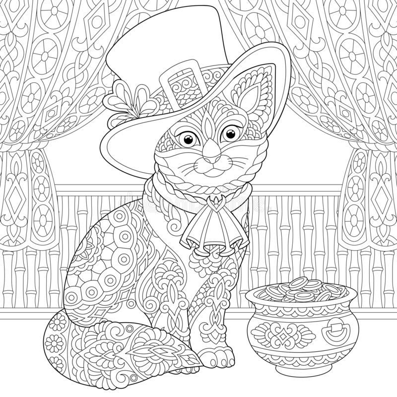 St. Patrick Day zentangle cat coloring page royalty free stock photo