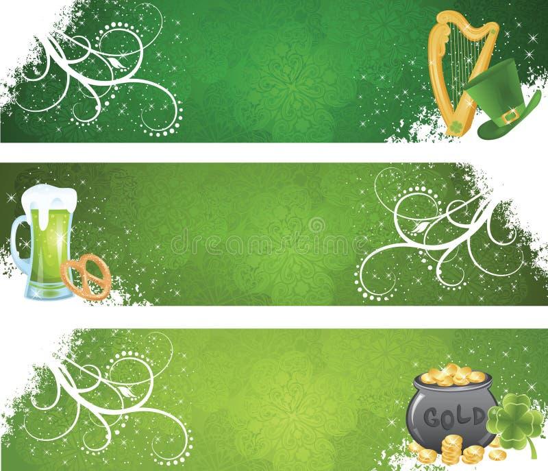 St. Patrick de banners van de Dag. stock illustratie