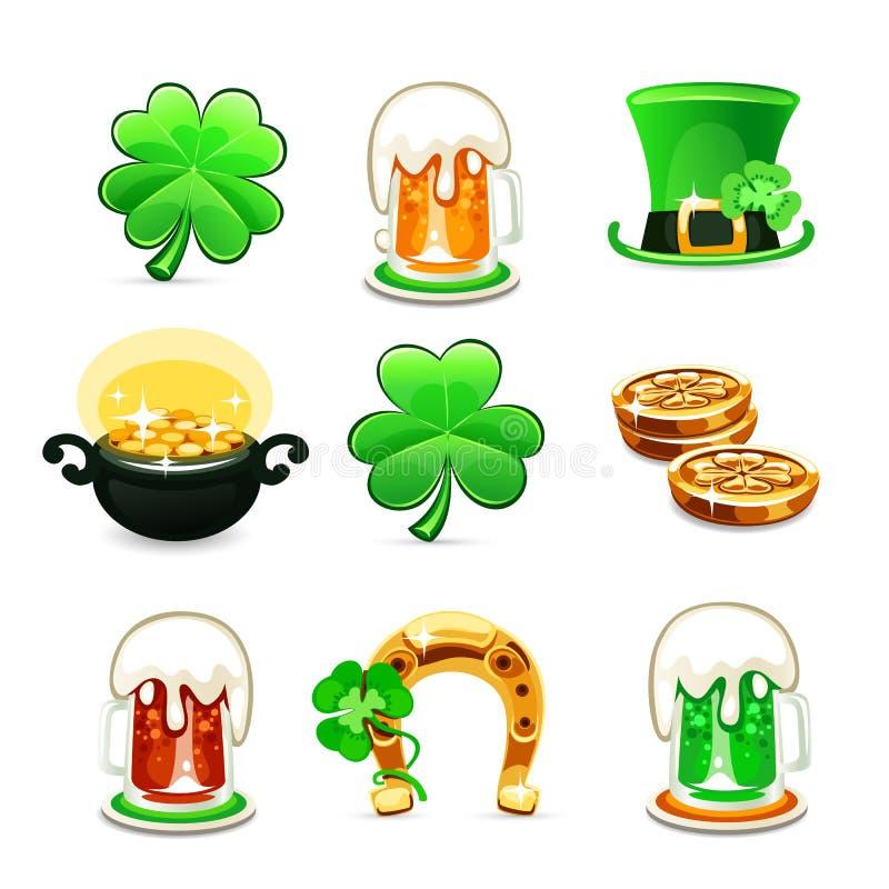 St.Patrick de pictogrammen van de Dag op witte achtergrond worden geplaatst die royalty-vrije illustratie
