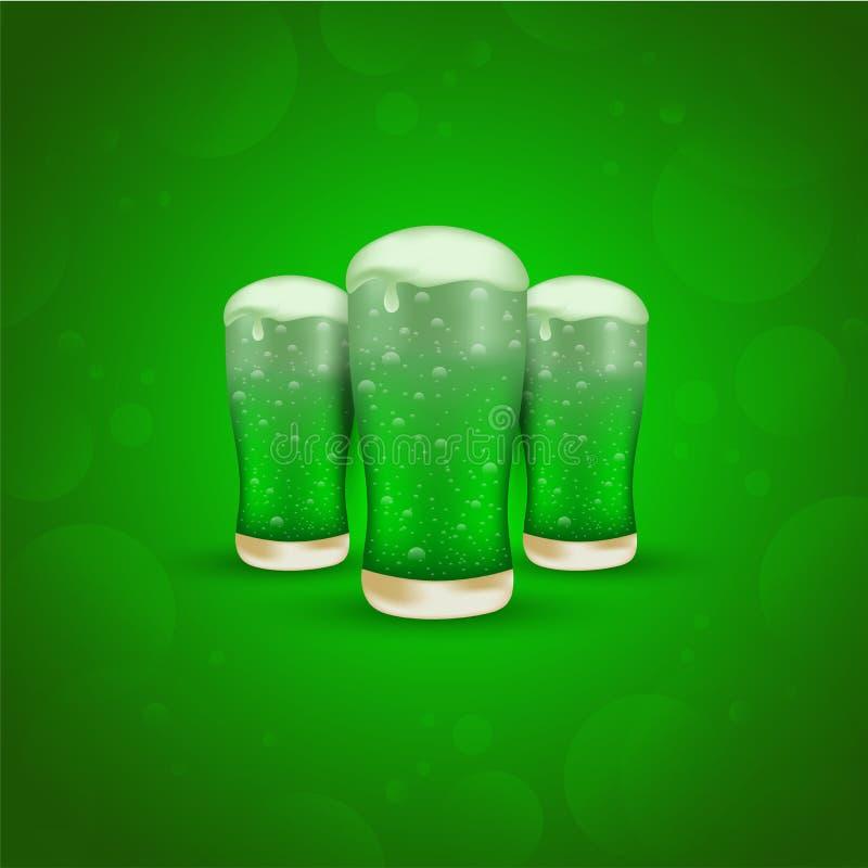 St Patrick dnia świętowania pojęcie z ilustracją trzy piwnego szkła na glansowanej zieleni ilustracja wektor