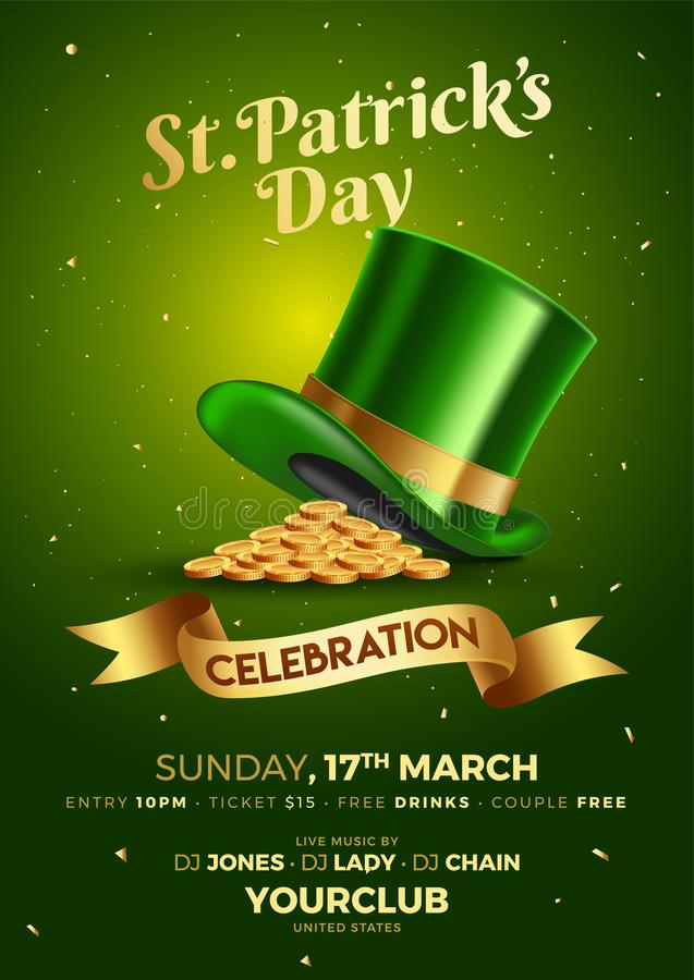 St Patrick dnia świętowania szablon lub ulotka projekt royalty ilustracja