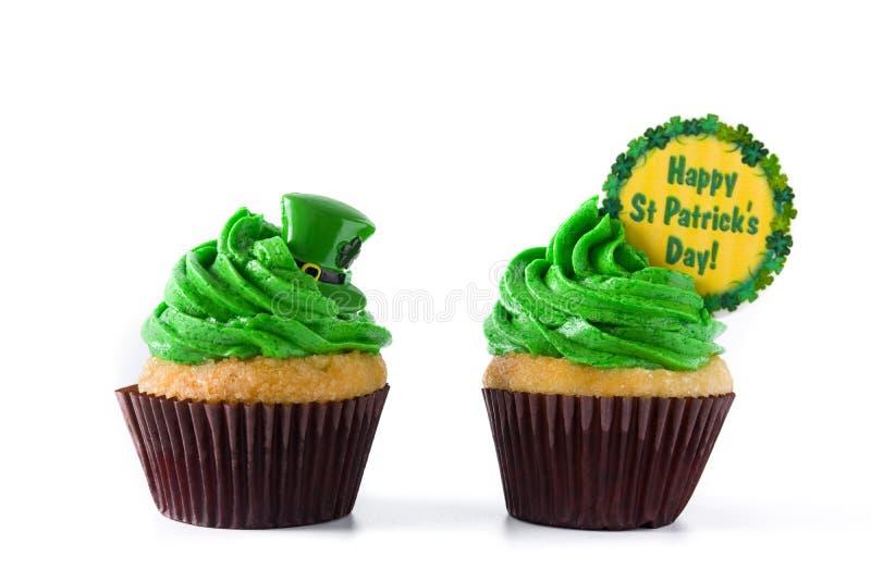 St Patrick dnia babeczki odizolowywać zdjęcie stock