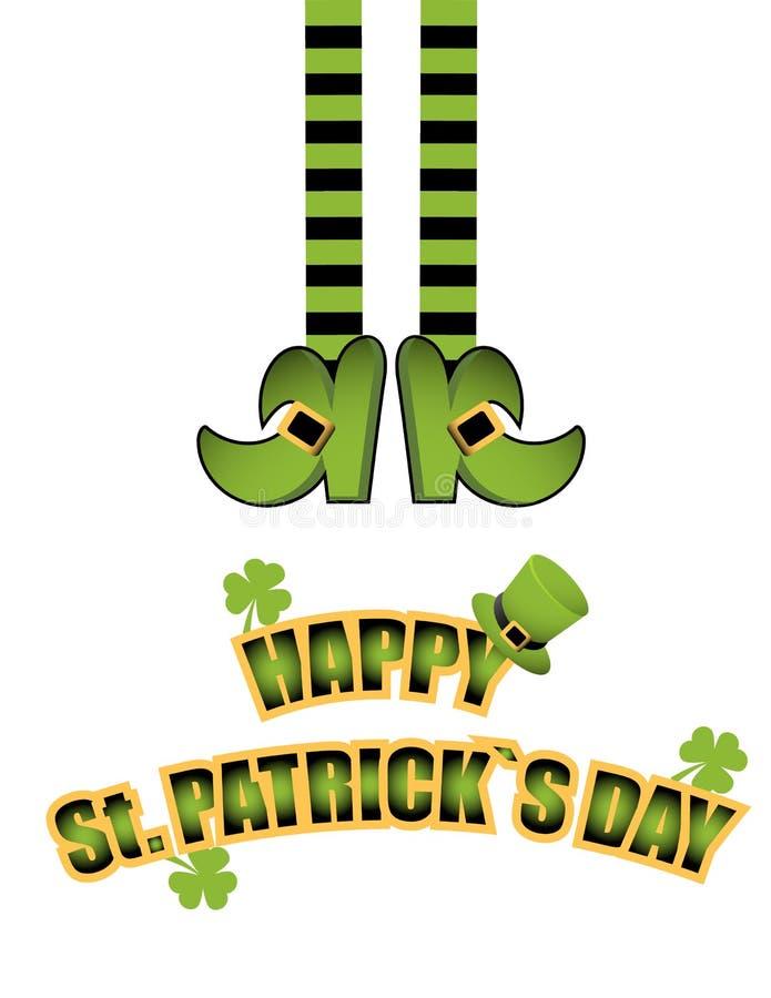 St Patrick dnia illustrationLeprechaun Wektorowe nogi leprechaun w pończochach i butach Szczęśliwy St Patrick dnia kartka z pozdr ilustracja wektor