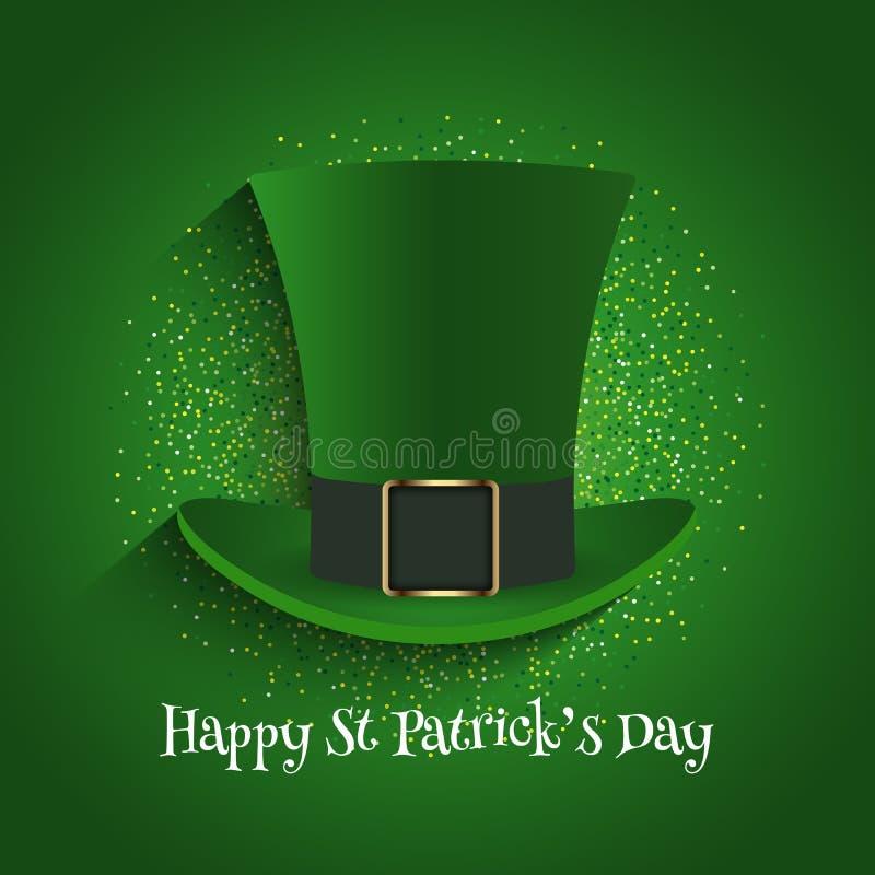 St Patrick dnia tło z odgórnym kapeluszem i błyskotliwością royalty ilustracja