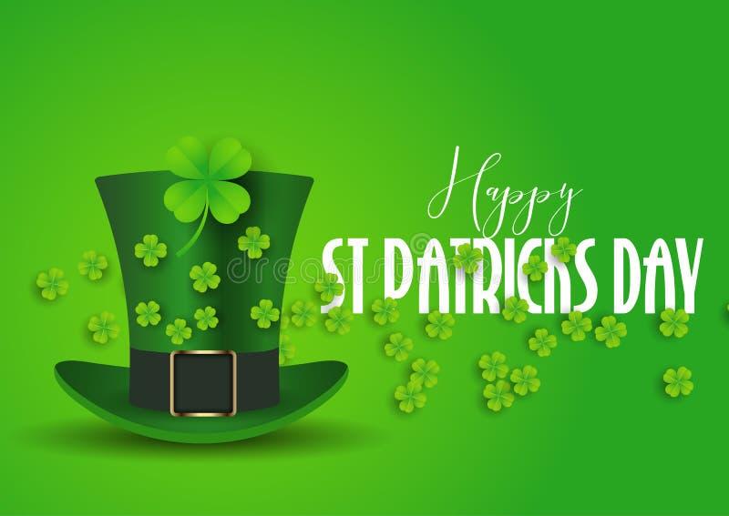 St Patrick dnia tło z odgórnym kapeluszem i shamrock ilustracji