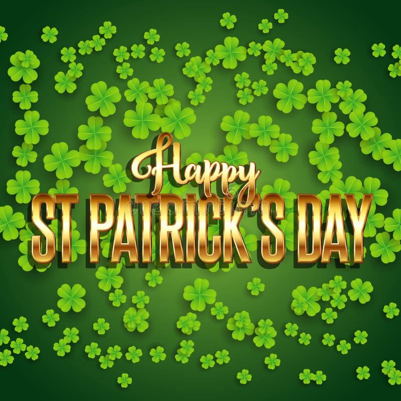 St Patrick dnia tło z shamrock i kruszcowym złocistym tekstem ilustracja wektor